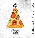 poster christmas tree pizza... | Shutterstock . vector #1171913566