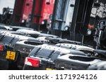 Pre Owned Trucks Dealership Parking. Semi Truck Sales. Transportation Industry. - stock photo