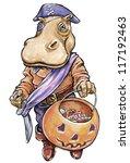 Hippopotamus Dressed In Pirate...
