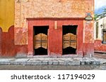 saloon with swinging doors in... | Shutterstock . vector #117194029