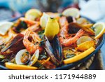 spanish seafood paella  closeup ... | Shutterstock . vector #1171944889