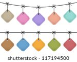 colorful hanging leather labels....   Shutterstock .eps vector #117194500