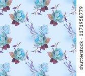 blue roses with violet leaf ...   Shutterstock . vector #1171958779