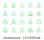 christmas tree thin line icons... | Shutterstock .eps vector #1171959136