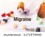 migraine   diagnosis written on ...   Shutterstock . vector #1171974940