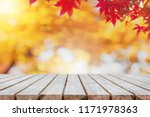 empty wood table top and... | Shutterstock . vector #1171978363