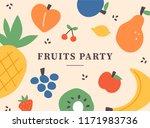 cute fruits pattern flat design ... | Shutterstock .eps vector #1171983736