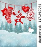 christmas card with a walking... | Shutterstock . vector #1171987096