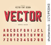 font and alphabet vector  red... | Shutterstock .eps vector #1171992043