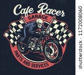 skull riding  cafe racer... | Shutterstock .eps vector #1172008060