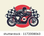 man riding cafe racer in hand... | Shutterstock .eps vector #1172008063