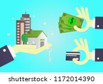 hand of businessman gives home  ... | Shutterstock .eps vector #1172014390