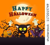 lovely halloween black cat with ...   Shutterstock .eps vector #1172015749