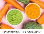 vegetable puree  carrots ...   Shutterstock . vector #1172016040