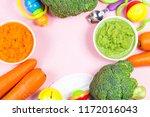 vegetable puree  carrots ...   Shutterstock . vector #1172016043