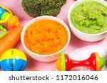 vegetable puree  carrots ...   Shutterstock . vector #1172016046