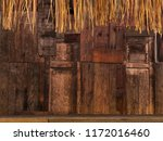 Small photo of Inconsistent Wooden Wall with decoration For text and background