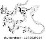 abstract black music notes on...   Shutterstock .eps vector #1172029399