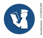policeman checks documents icon ...