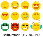 set smile icon love  joy  sick  ... | Shutterstock .eps vector #1172063440
