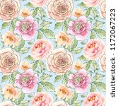watercolor and ink floral... | Shutterstock . vector #1172067223