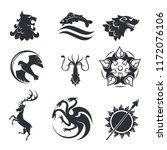 heraldic gothic vector animals... | Shutterstock .eps vector #1172076106