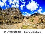 mountain peaks trail landscape. ... | Shutterstock . vector #1172081623