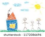 hildren's drawing of family ... | Shutterstock .eps vector #1172086696