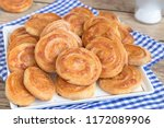 homemade cheese snack on blue... | Shutterstock . vector #1172089906