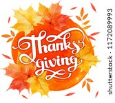 happy thanksgiving card with... | Shutterstock . vector #1172089993