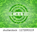 Stock vector celt green emblem with mosaic background 1172093119