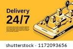 delivery service 24 7 vector... | Shutterstock .eps vector #1172093656