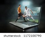 caucassian soccer players in... | Shutterstock . vector #1172100790