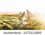 happy family playing in the... | Shutterstock . vector #1172111800