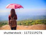 lonely young traveler girl...   Shutterstock . vector #1172119276