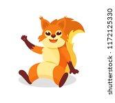 friendly red squirrel sitting... | Shutterstock .eps vector #1172125330