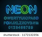 neon blue font. english... | Shutterstock .eps vector #1172132356