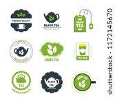 cartoon tea badges or labels... | Shutterstock .eps vector #1172145670