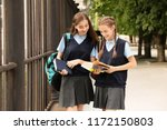 teenage students in stylish... | Shutterstock . vector #1172150803