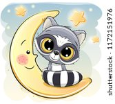 cute cartoon raccoon is sitting ... | Shutterstock .eps vector #1172151976