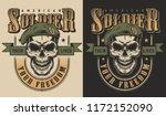 skull soldier in beret t shirt... | Shutterstock .eps vector #1172152090