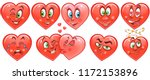 Stock vector heart collection emoticons emoji love symbol cartoon design element for valentines day greeting 1172153896
