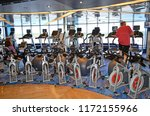 stationary exercise bikes in a... | Shutterstock . vector #1172155966
