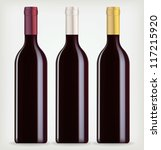 three bottles of wine on a... | Shutterstock .eps vector #117215920