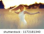 hair develop wind girl   sport... | Shutterstock . vector #1172181340