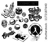 vector set of hand drawn cosmic ... | Shutterstock .eps vector #1172187640