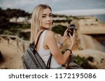 young beauty woman take photo... | Shutterstock . vector #1172195086