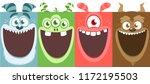 cartoon monsters set. vector... | Shutterstock .eps vector #1172195503