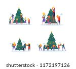 flat happy people decorating... | Shutterstock .eps vector #1172197126