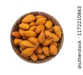 almonds in wooden bowl isolated ... | Shutterstock . vector #1172210863